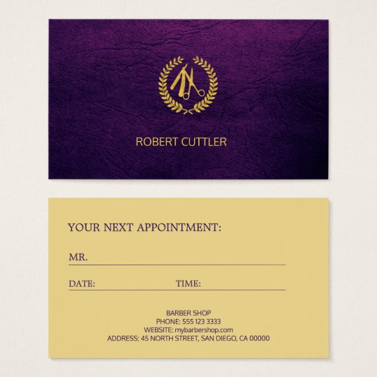 Barbershop luxury purple logo appointment template business card