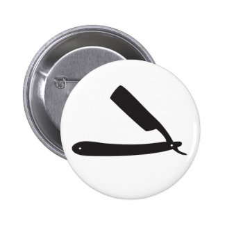 barbershop razor 6 cm round badge