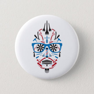 barbershop sugar skull 6 cm round badge