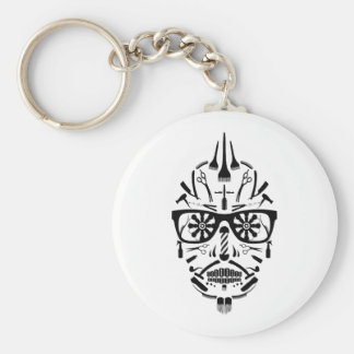 barbershop sugar skull key ring