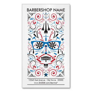 barbershop sugar skull 	Magnetic business card