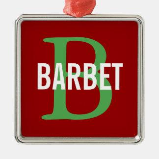 Barbet Monogram Design Silver-Colored Square Decoration