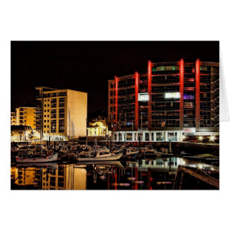Barbican North Quay by Night - blank notelet Note Card