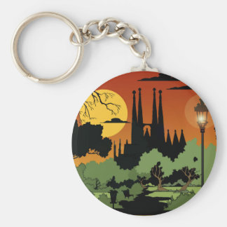 "Barcelona 2.25"" Basic Button Keychain"