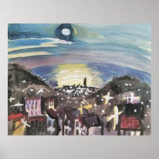 Barcelona at night (1st version) by Walter Gramatt Print