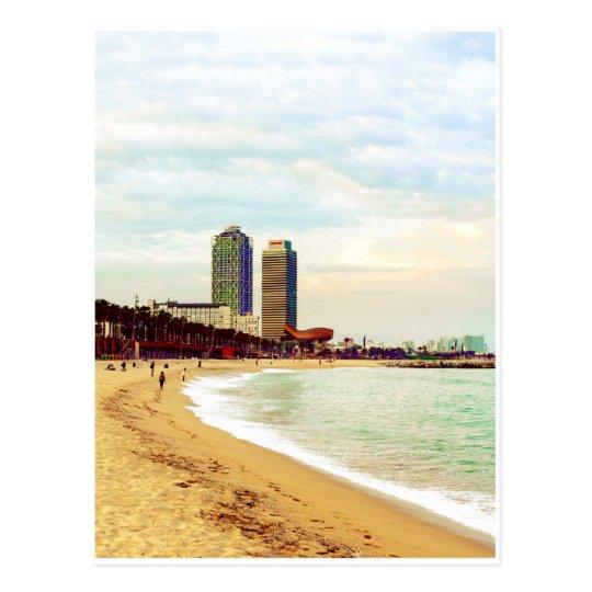 Barcelona beach on sunset postcard