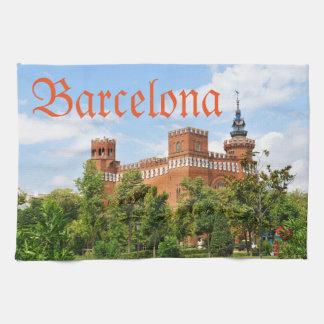 Barcelona castle tea towel
