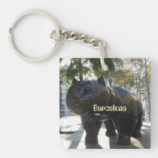 Barcelona Cat Statue Single-Sided Square Acrylic Key Ring