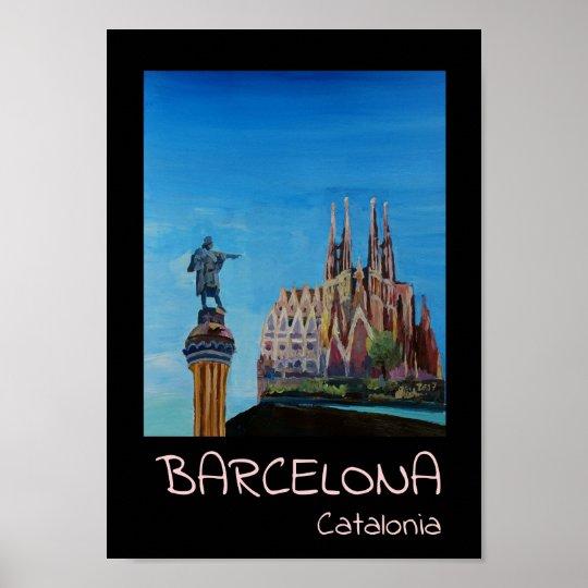 Barcelona Catalonia Sagrada Familia Retro Poster