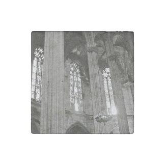 Barcelona Cathedral B&W Marble Magnet Stone Magnet