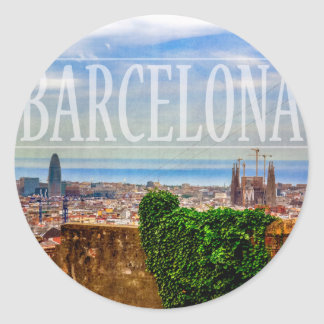 Barcelona city classic round sticker