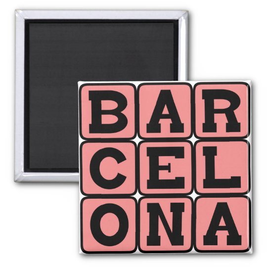 Barcelona, City in Spain Square Magnet