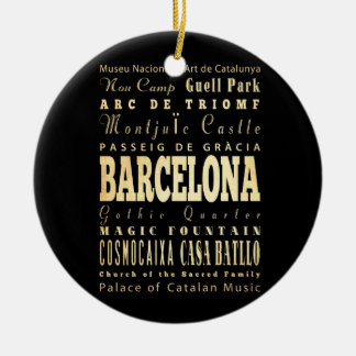 Barcelona City of Spain Typography Art Christmas Ornament