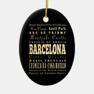 Barcelona City of Spain Typography Art Christmas Ornament