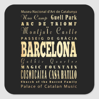 Barcelona City of Spain Typography Art Square Sticker