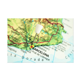 Barcelona City Pin Map Canvas Print
