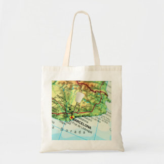 Barcelona City Pin Map Tote Bag