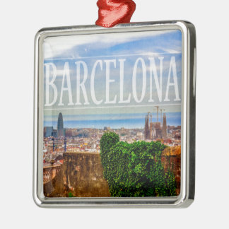 Barcelona city Silver-Colored square decoration