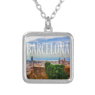 Barcelona city silver plated necklace