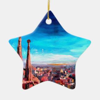 Barcelona City View And Sagrada Familia Christmas Ornament