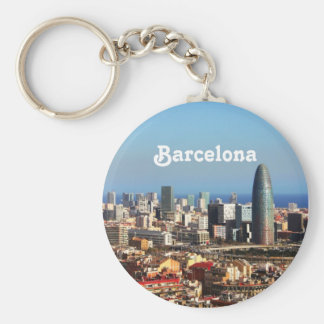 Barcelona cityscape basic round button key ring