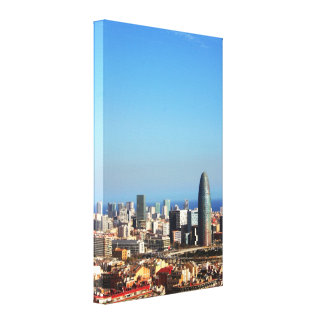 Barcelona cityscape gallery wrapped canvas