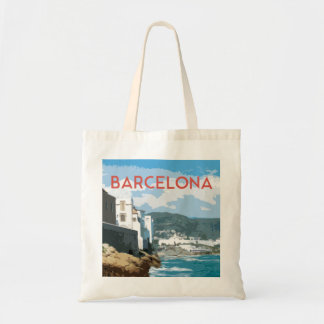 Barcelona coast, Spain vintage travel style Tote Bag