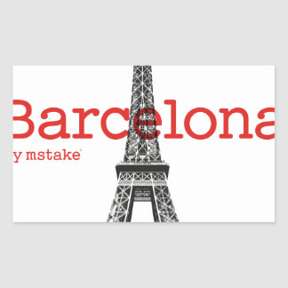 Barcelona-Eiffel by mstake Rectangular Sticker