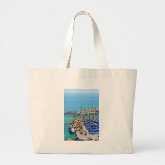 Barcelona harbour large tote bag
