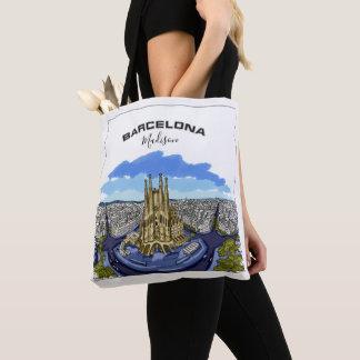 Barcelona Illustration custom name tote bags