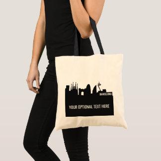 Barcelona Landmarks custom text tote bags