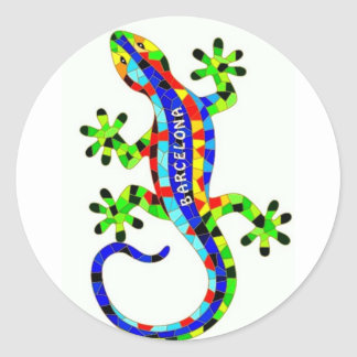 Barcelona lizard classic round sticker