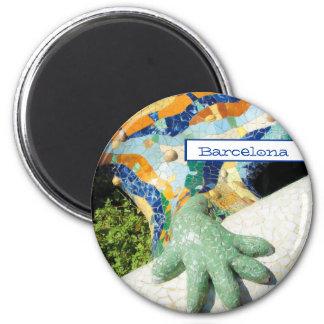 Barcelona Lizard Hand Mosaics 6 Cm Round Magnet