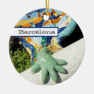Barcelona Lizard Hand Mosaics Double-Sided Ceramic Round Christmas Ornament