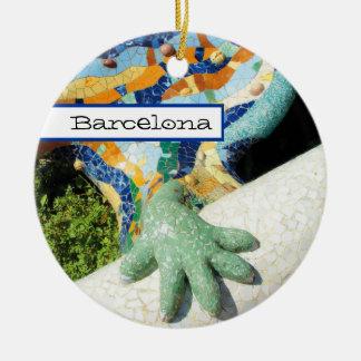 Barcelona Lizard Hand Mosaics Round Ceramic Decoration