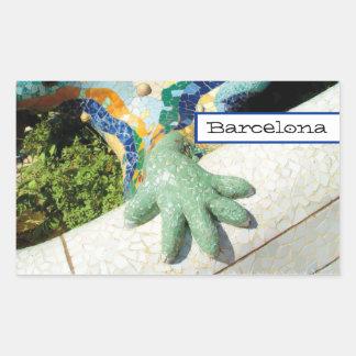 Barcelona Lizard Hand Mosaics Rectangle Sticker