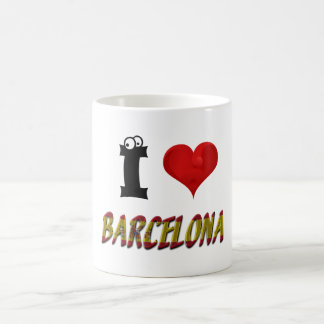 Barcelona Love Spain Heart Spanish Flag Typography Coffee Mug