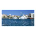 Barcelona port photo greeting card