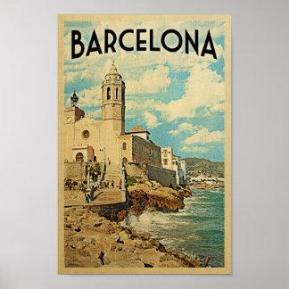 Barcelona Poster Vintage Travel Retro Spain Print