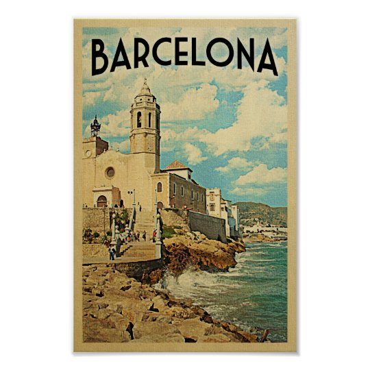 Barcelona Poster Vintage Travel Retro Spain Print