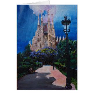 Barcelona Sagrada Familia with Park and Lantern Card