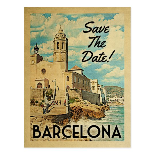 Barcelona Save The Date Vintage Spain Postcard