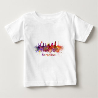 Barcelona skyline in watercolor baby T-Shirt