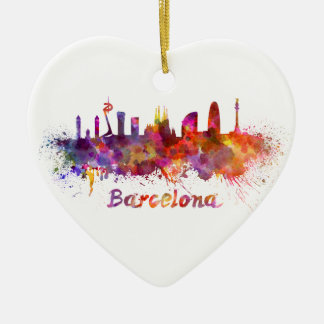 Barcelona skyline in watercolor ceramic heart decoration
