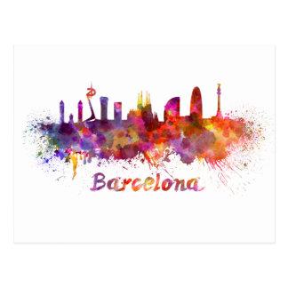 Barcelona skyline in watercolor postcard