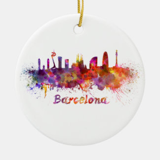 Barcelona skyline in watercolor round ceramic decoration