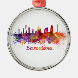 Barcelona skyline in watercolor Silver-Colored round decoration