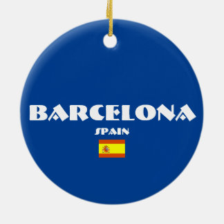 Barcelona Soccer Oval Christmas Ornaments