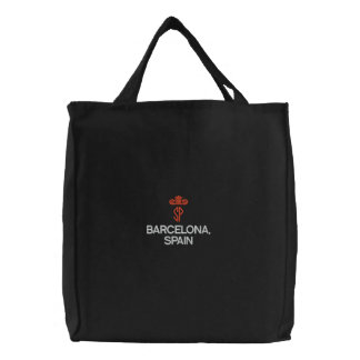 BARCELONA, SPAIN  BLACK TOTE CANVAS BAG