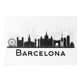 Barcelona, Spain | Black & White City Skyline Acrylic Print